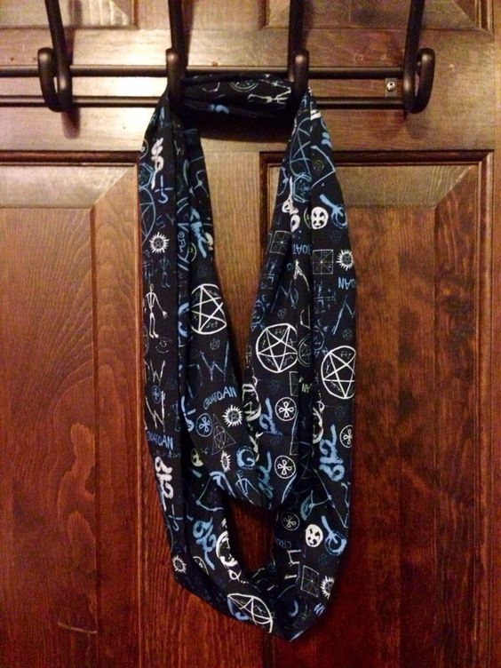 A personal favorite from my Etsy shop https://www.etsy.com/listing/204983284/supernatural-symbols-infinity-scarf