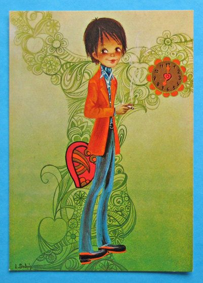 Retro postcard vintage 70s. Hip mod boy ready to go out.