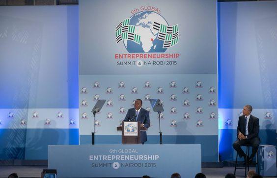Apresentação da GES pelo Presidente do Quénia acompanhado pelo Presidente dos EUA.