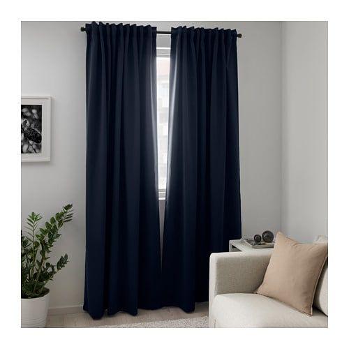 Majgull Dark Blue Block Out Curtains 1 Pair 145x250 Cm Ikea Block Out Curtains Cool Curtains Blue Curtains
