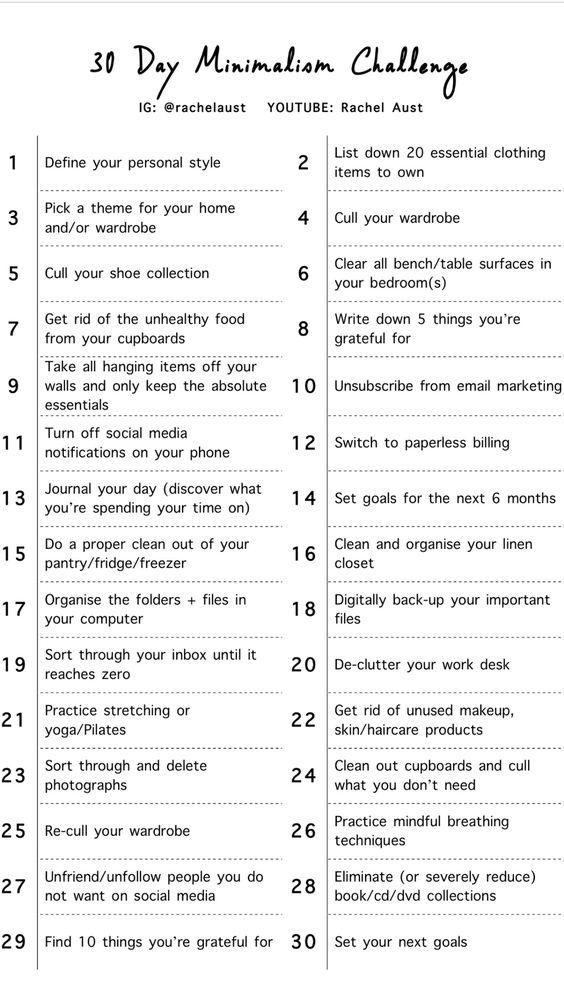 30 day minimalist challenge rachel aust minimalism help