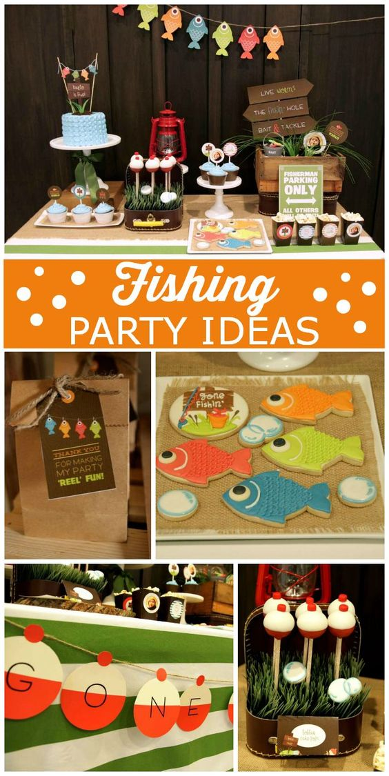 An awesome Fishing themed boy birthday party with cake pops, cupcakes and excellent party decorations!  See more party ideas at CatchMyParty.com!: