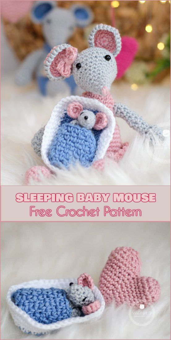 Sleeping Baby Mouse - Free Crochet Pattern. Tiny baby mouse is a quick and adorable project.Sleeping Baby is the newborn member of the mouse family, but you can make it also separately as an addition to crocheted toys. Please also see the patterns for Lisa the Mommy Mouse and Daddy Mouse. #amigurumipattern #mouse #freecrochetpatterns