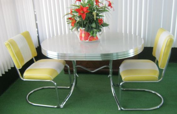 Vintage Retro 1950's Chrome Gray/Yellow Dining Kitchen Table Leaf 2 Chairs | eBay