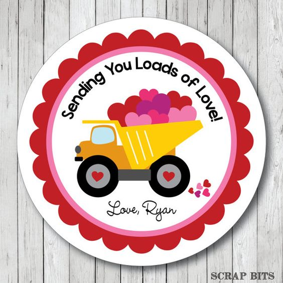 Loads of Love Dump Truck . Personalized Valentine by scrapbits