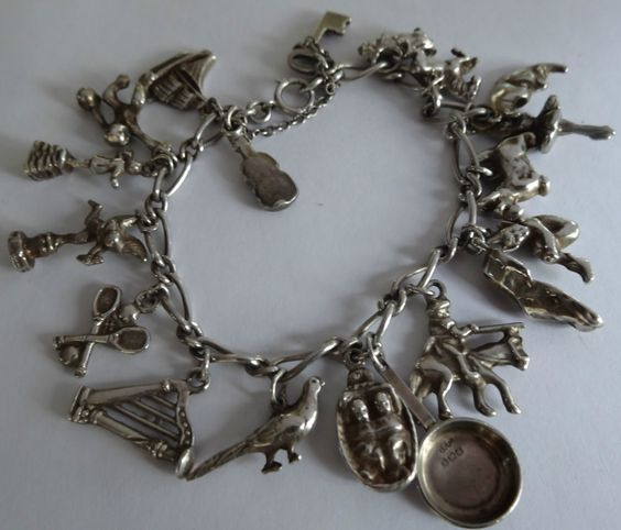 Hallmark Charms For Bracelets: Vintage Hallmark English Sterling Silver Charm Bracelet