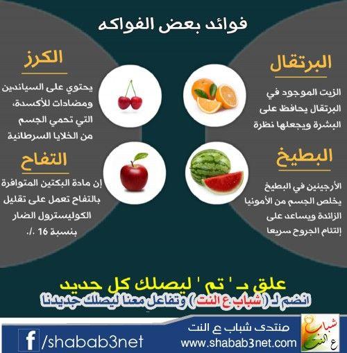 فوائد بعض الفواكه الصحية Health Facts Food Health And Nutrition Health Signs