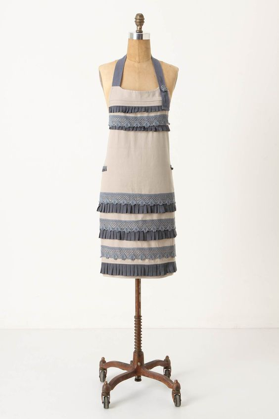 from Anthropologie - could make this by adding lace and pleated trim to a plain old apron