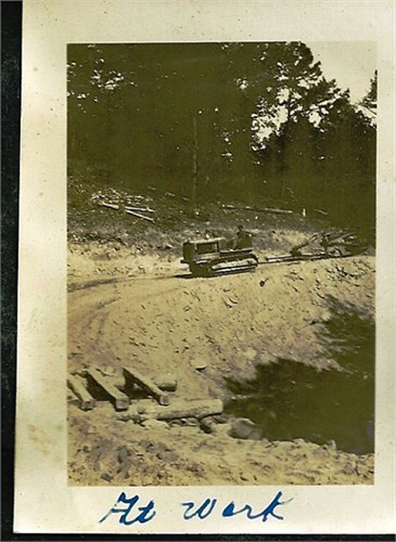 Grandfather Lloyd Beck at work during the Great Depression cutting the Talimena Drive through the Kiamichi mountains - a sub-range of the Ouachita Mountains. 1930s photo by grandmother Ethel Beck.