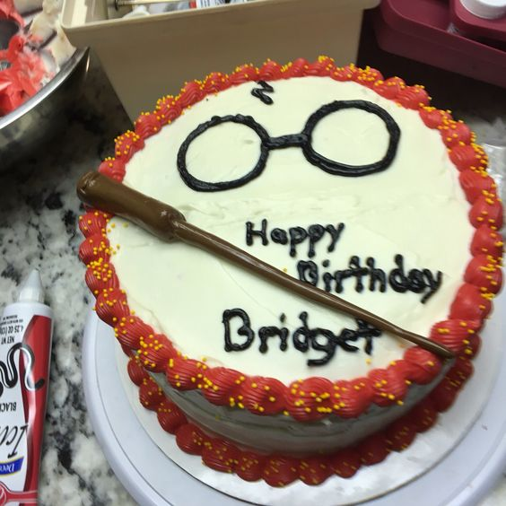 Harry Potter cake with tootsie roll wand