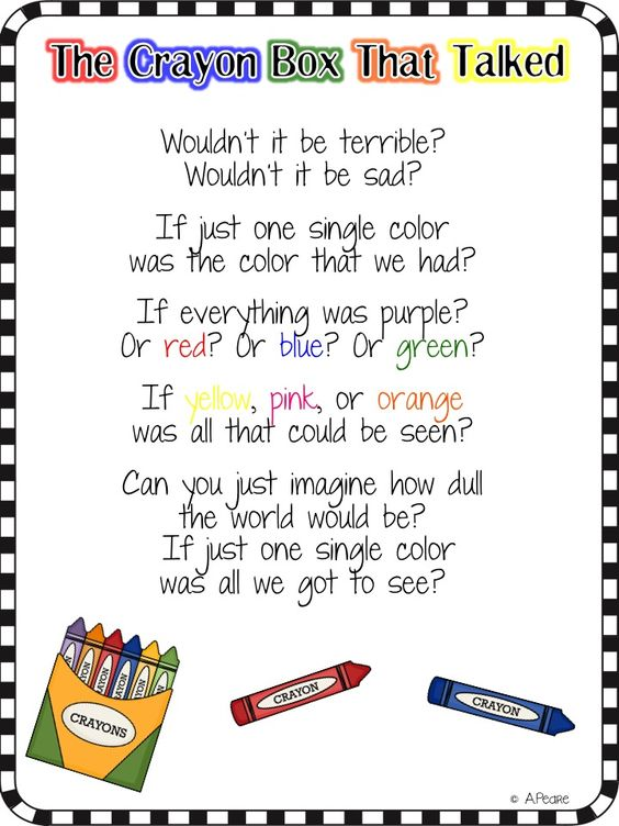 The bubbly blonde the crayon box that talked freebie writing papers