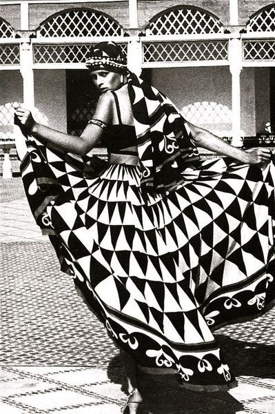 "1973 - Karl Lagerfeld for Chloe dress in ""Morocco Bound"" spread, Vogue UK 1973"