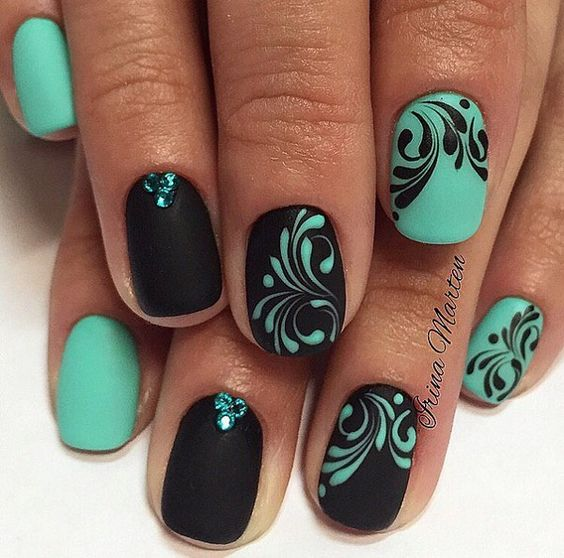 Black can be beautiful combined with all colors, so is with the soft green. If you have manicure in two colorsopposite color on background in different color is interesting choice.