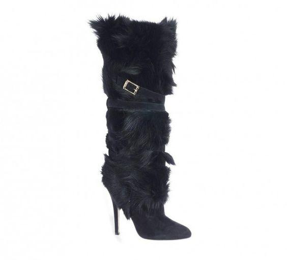 Stivali con pelliccia nera Jimmy Choo