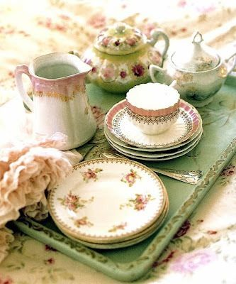 Pretty dishes, tray and linens