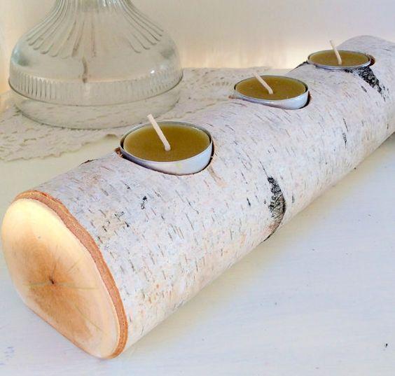 Birch Rustic Tea Light Candle Holder Log Style