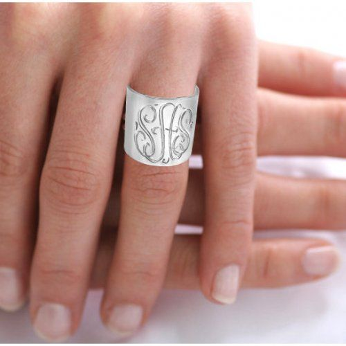 Personalized Monogrammed Ring (Order Any Name) Sterling Silver | ketisorelydesigns - Jewelry on ArtFire