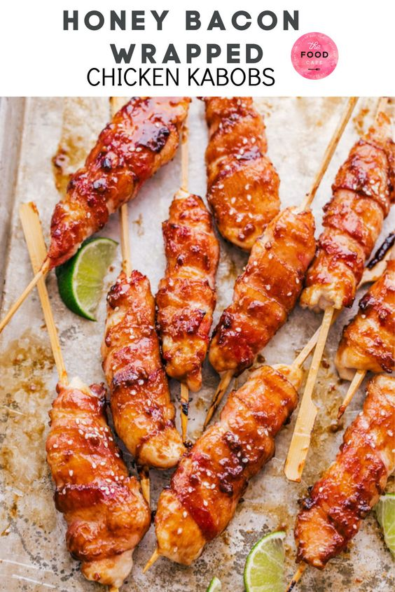 Honey Lime Bacon Wrapped Chicken Kabobs are going to tantalize your tastebuds. Chicken tenders wrap