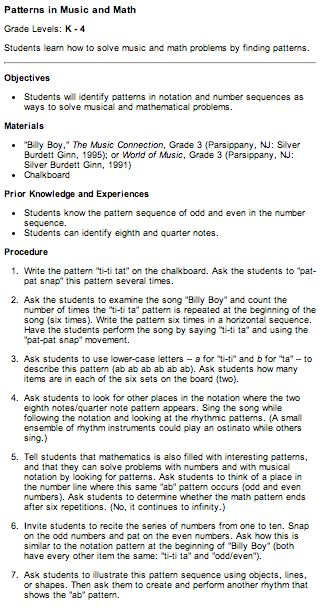 Music Math And Patterns Lesson Plan Great For Grades 2 3 Music