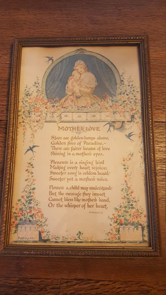 Very Old Mother's Love Picture Gold Filigree Frame by HallowedHome