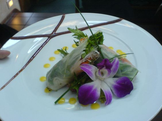 Duck summer rolls with mizuna, hoisin, and passion fruit redux