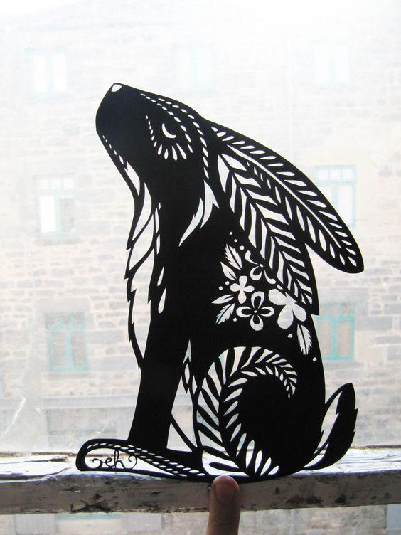 rabbit, stencil, cut paper, artowork, craft, illustration, pattern