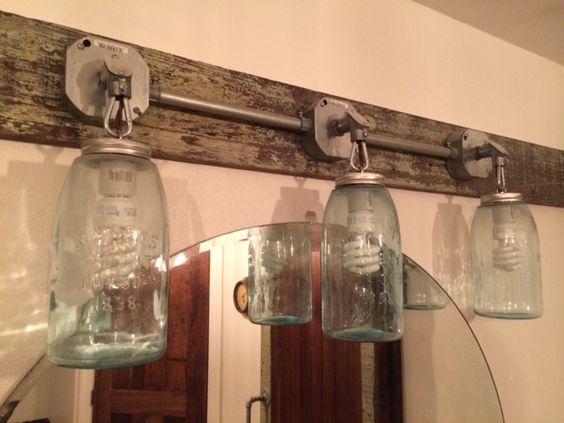 Old blue 1/2 gal mason jar vanity lighting. $160.00 SOLD Custom orders always welcome!