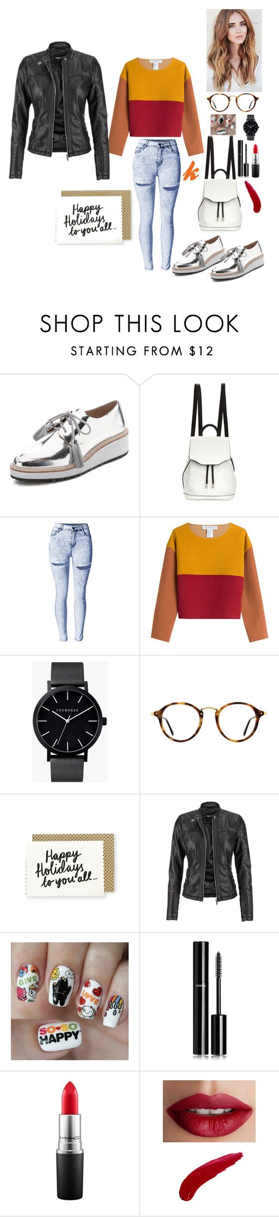 """Orange day"" by kathy-97 ❤ liked on Polyvore featuring moda, Loeffler Randall, rag & bone, Philosophy di Lorenzo Serafini, The Horse, Ray-Ban, maurices, Nail Pop, Chanel y MAC Cosmetics"