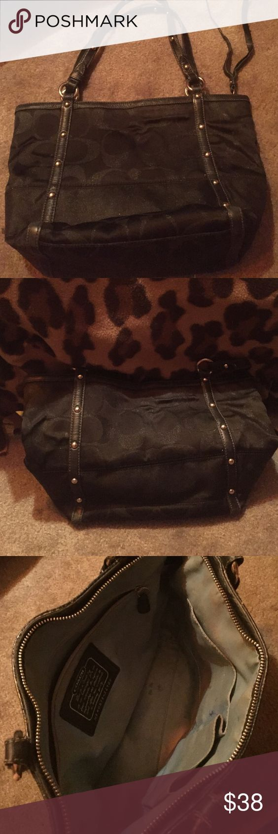Black sig c coach shoulder bag Cute roomy three pocket. Pocket can fit iPhone. Lightly used. Perfect on the outside. I will clean inside which isn't too bad at all. As pictured :) Coach Bags Shoulder Bags