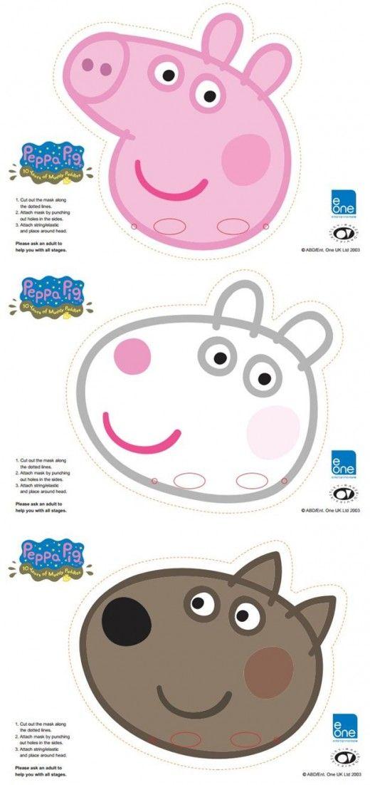 Free Printable Character Face Masks Peppa Pig Party Peppa Pig Birthday Peppa Pig Birthday Party