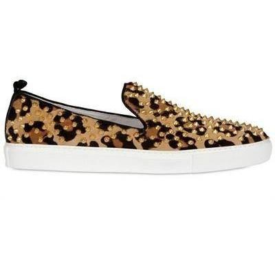Giacomorelli - Limit.Ed Nieten Leopard Druck Ponyfell Sneakers