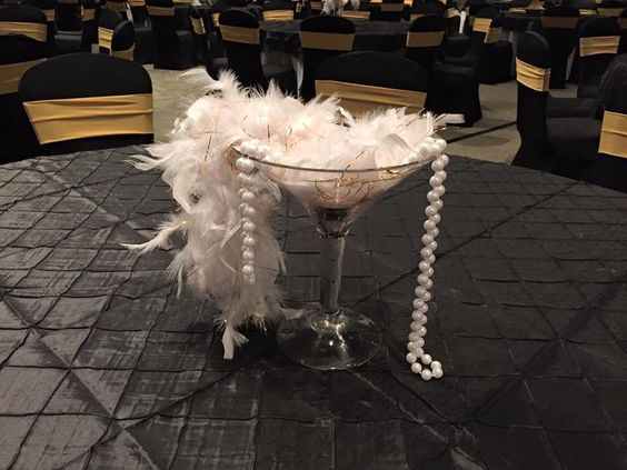 Pearl centerpiece feather boas and on pinterest