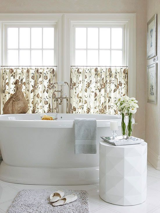 A Simple Cafe Curtain Style Window Treatment Can Be The Perfect Finishing Touch T Bathroom Window Treatments Bathroom Window Coverings Bathroom Window Curtains