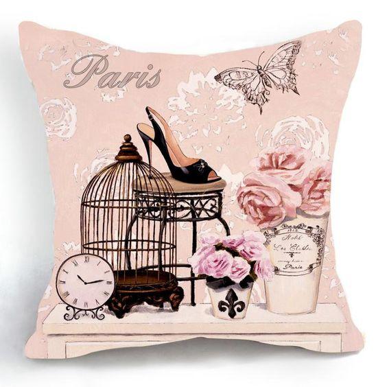 Barato Vintage Retro de rosa da gaiola de pássaro flor High Heel Shoe início decorativa Cotton Linen fronha capa de almofada 18 '' 45 CM, Compro Qualidade Capas de almofadas diretamente de fornecedores da China:               100% Brand New                                                Material: alta qualidade de algodão e linho