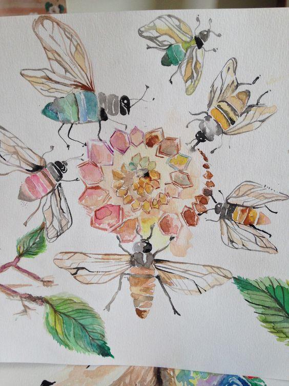 Satpadi stotram • a oração das abelhas. #yoga #vedanta #watercolor #aquarela #arte #art