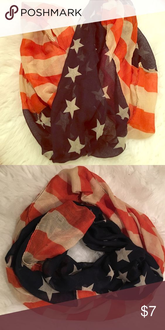 American flag infinity scarf Lightweight beautiful and never worn! Great condition. No rips. No tears. Good quality.                                                                                              ✨🛍BUNDLE AND SAVE 15%.           ✨❌SORRY NO TRADES                            ✨💗BUT MAKE AN OFFER Accessories Scarves & Wraps