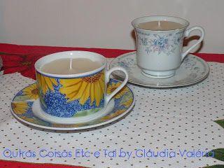 Velas nas xícaras desemparelhadas para lembrança de natal!!!