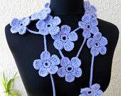 Crochet Scarf Lariat Modern Fashion 2013, Crochet Lariat Necklace Light Purple Flowers Scarf, Ready To Ship, Cyprus Crochet Lyubava