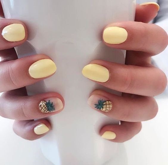 50 Simple And Amazing Gel Nail Designs For Summer Page 15 Of 50 Soopush Yellow Nails Design Cute Nail Art Designs Short Nail Designs