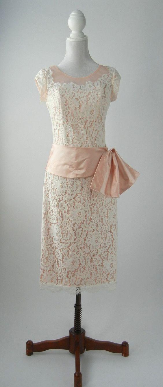 Vintage 1950s Style Pink & White Lace Dress, Medium