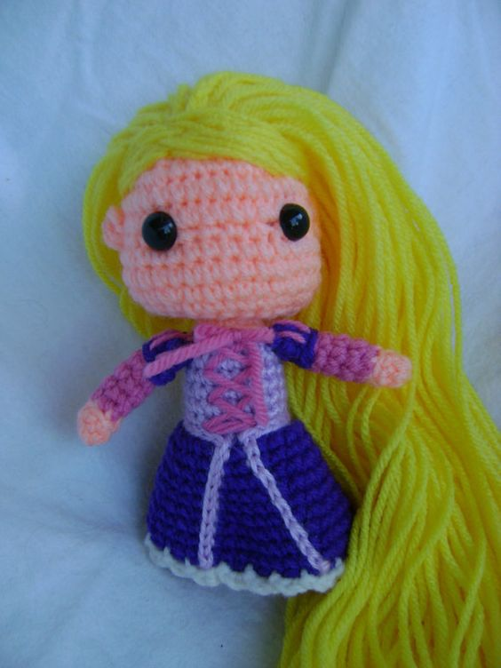 Crochet Hair Tangle Free : Rapunzel Tangled Crochet doll & tons of other Disney Crochet Dolls ...