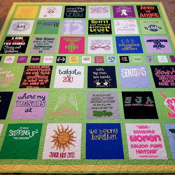 Jersey t-shirt quilts made from 9 to 49 tees. Memory T shirt