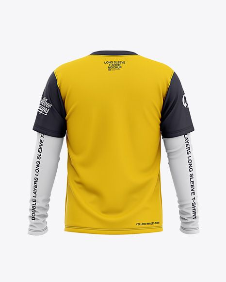 Men S Double Layer Long Sleeve T Shirt Mockup Back View In Apparel Mockups On Yellow Images Object Mockups Shirt Mockup Knitted Tshirt Clothing Mockup