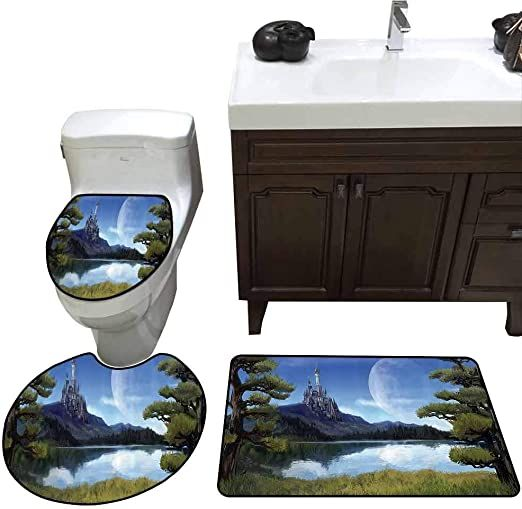 3 Piece Shower Mat Set Fantasy Decor Moon Surreal Scene With Riverside Lake Forest And Medieval Castle On Hill Art H Fantasy Decor Shower Mat Elegant Bath Rugs