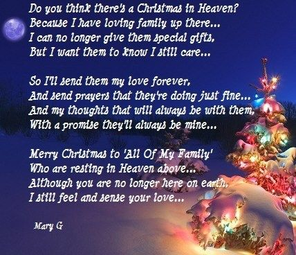 christmas sayings for lost loved ones Christmas in Heaven ...