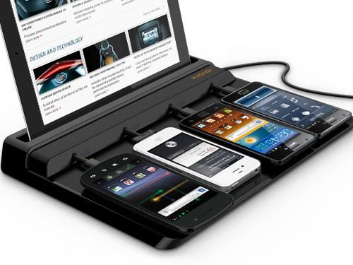 It charges mobile devices. Up to 4 cellphones and a tablet.