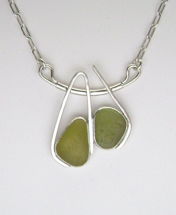 One of my most Fav sea glass artists! Sterling Olive Green Sea Glass Necklace by SignetureLine on Etsy