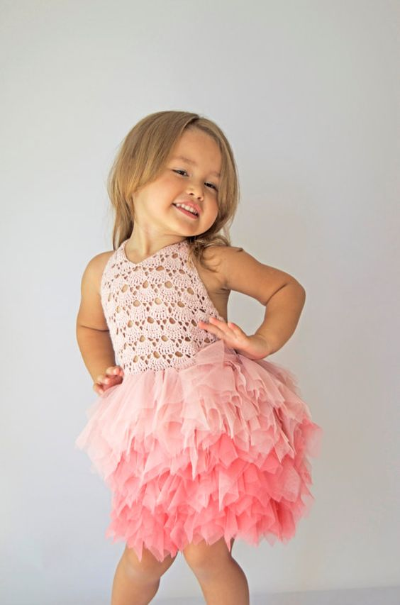 Tulle Dress with Halter  Lace Stretch Crochet Bodice.