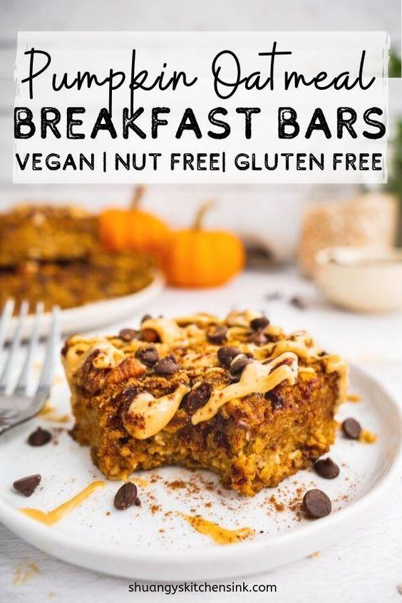 Vegan Healthy Pumpkin Oatmeal Breakfast Bars - Shuangy's Kitchensink