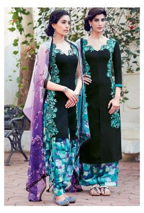 Black Floral Embroidered Straight Cotton Satin Suit
